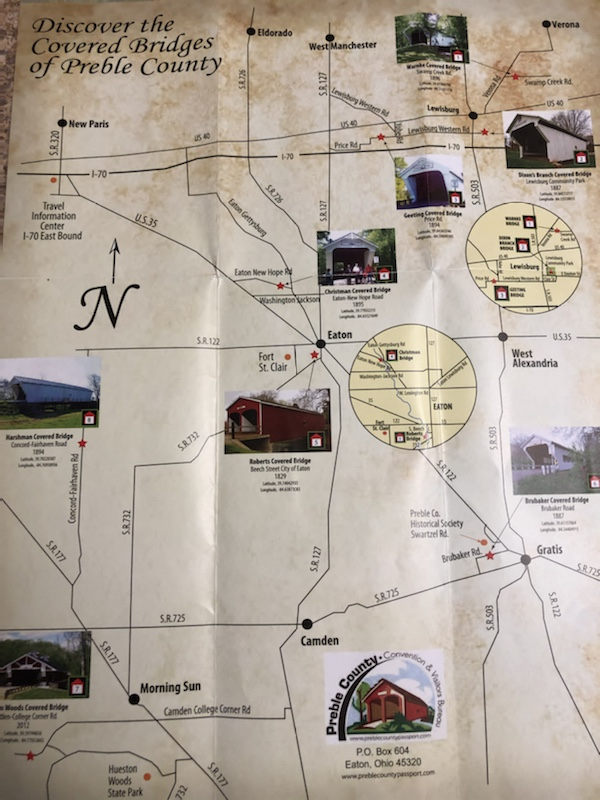 map of covered bridges in preble county ohio
