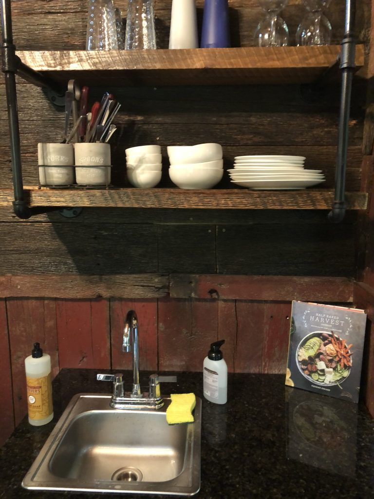 Kitchen area inside the Mohican Treehouse