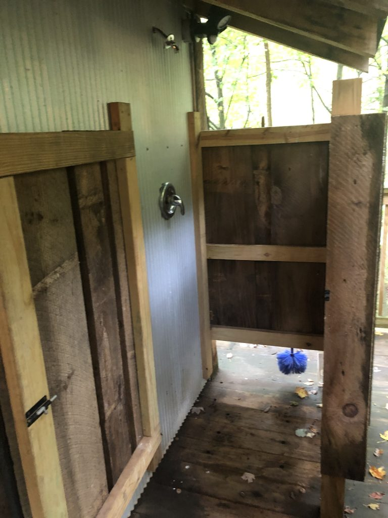Outdoor shower at the Mohicans
