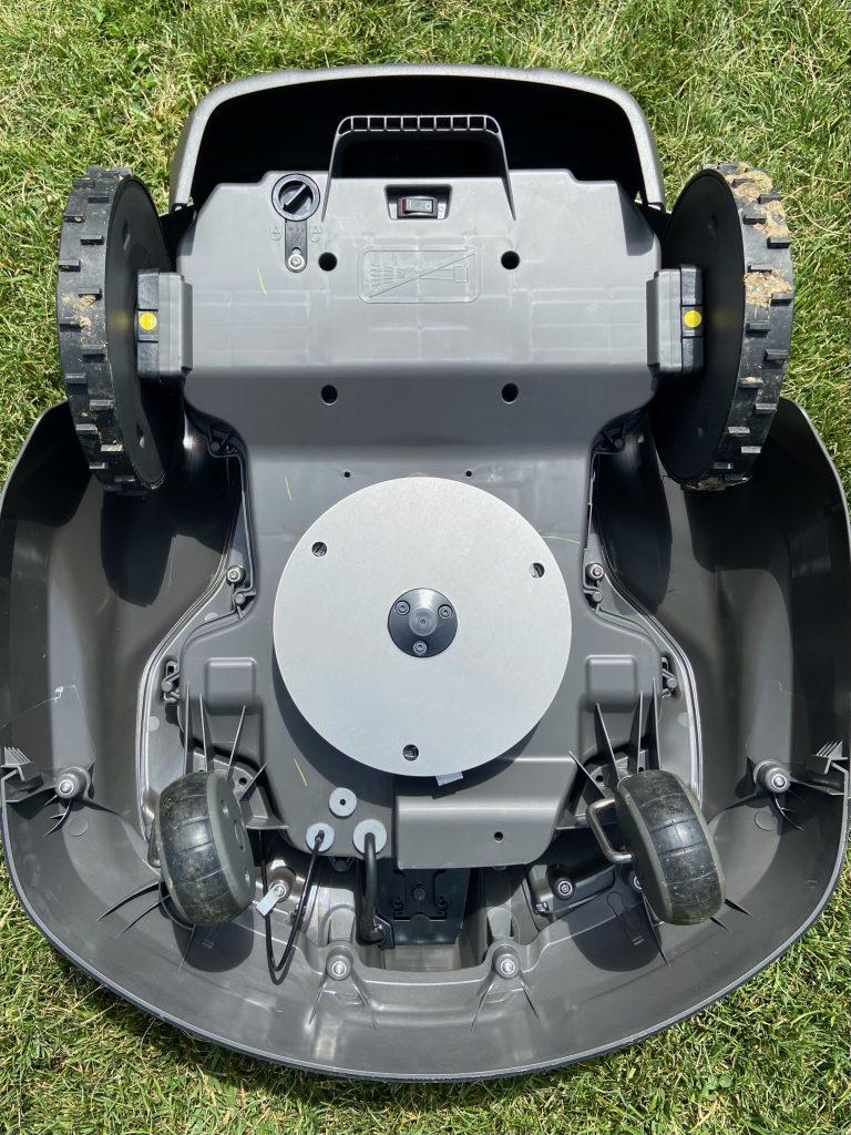 Underneath the robotic mower