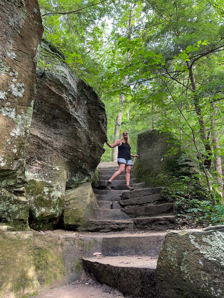 Rocky Steps along the Rock House  Trail In Hocking Hills Ohio