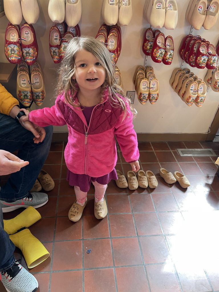 Trying on Wooden Shoes